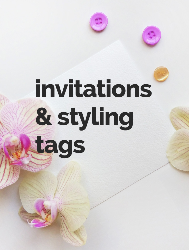 invitations and styling tags